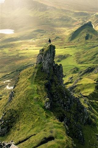 iPhone Wallpaper Hills, greens, rocks, sunlight, nature landscape