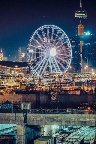 iPhone Wallpaper Hong Kong, Ferris wheel, city night, lights
