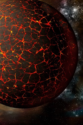 iPhone Wallpaper Hot planet, fire, space, earth, moon