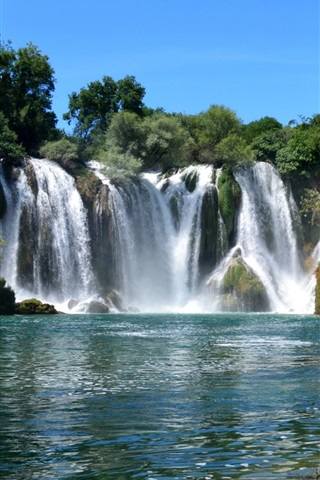 iPhone Wallpaper Kravice waterfalls, trees, river