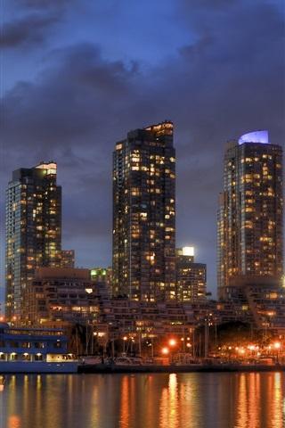iPhone Wallpaper Lake Ontario, Toronto, Canada, city night, skyscrapers, lights