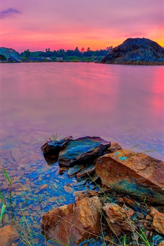 iPhone Wallpaper Lake, mountains, glow, red sky, clouds, sunset
