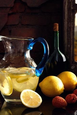 iPhone Wallpaper Lemons, litchi, lemon drinks, still life
