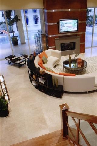 iPhone Wallpaper Living room, villa, interior
