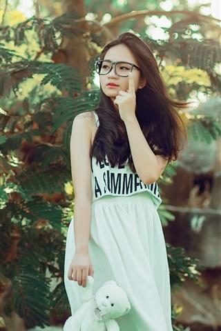 iPhone Wallpaper Long hair Asian girl, skirt, glasses, trees, nature