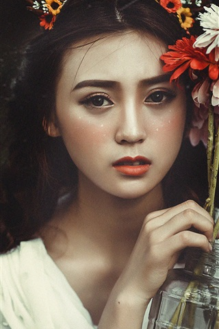 iPhone Wallpaper Lovely Asian girl and flowers