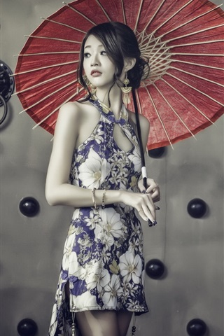iPhone Wallpaper Lovely chinese girl, cheongsam, umbrella