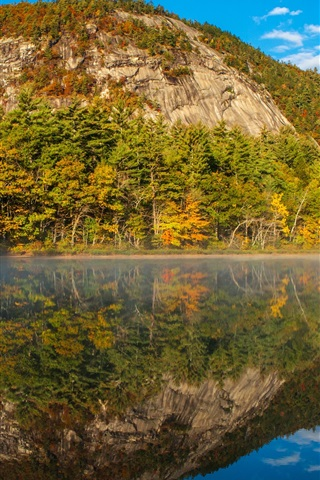 iPhone Wallpaper New Hampshire, Echo Lake, water, mountains, trees, USA