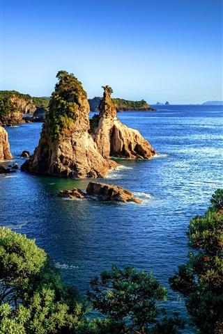 iPhone Wallpaper New Zealand, sea, trees, rocks