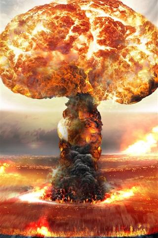 iPhone Wallpaper Nuclear bomb explosion, mushroom cloud