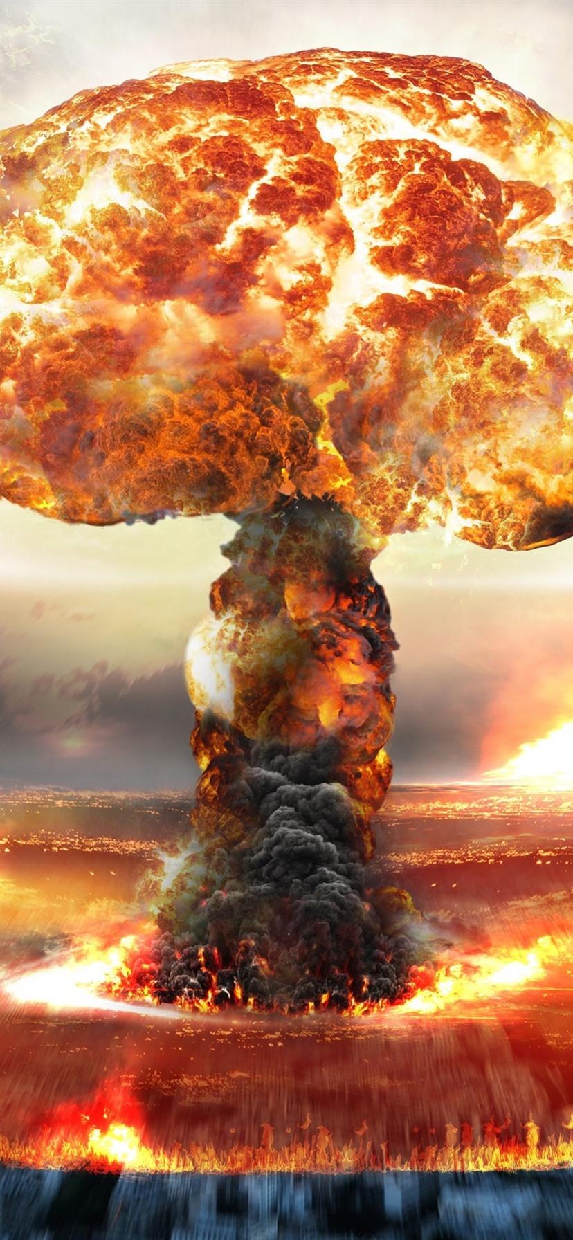 bfb1753ed25 Nuclear bomb explosion, mushroom cloud 1080x1920 iPhone 8/7/6/6S ...