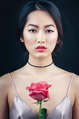 iPhone Wallpaper Oriental beautiful girl, portrait, makeup, rose