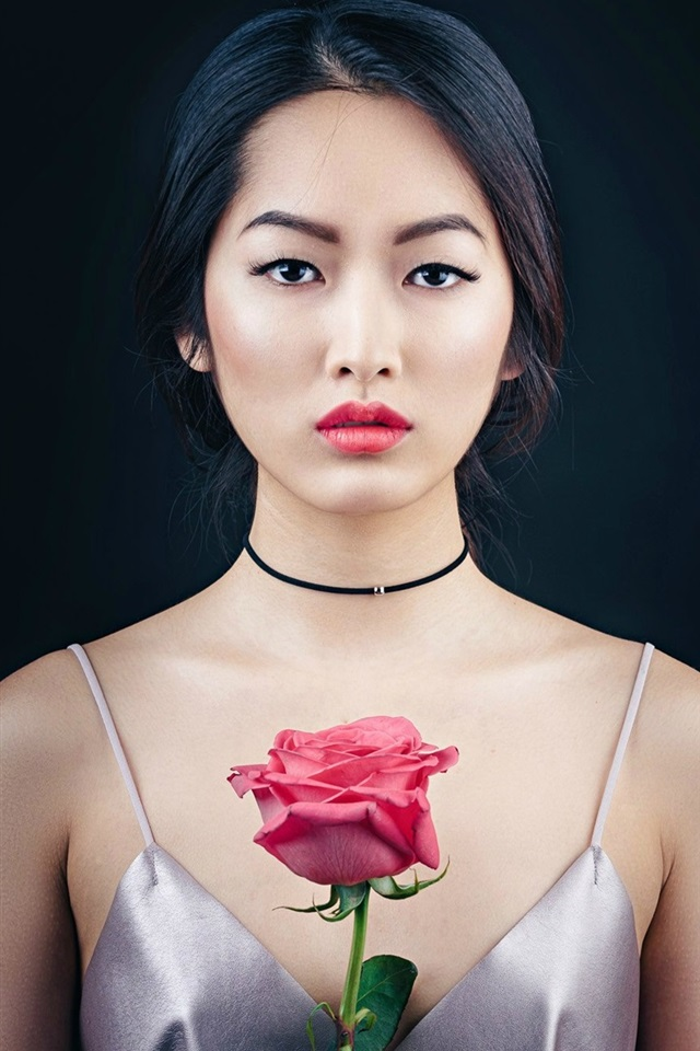 Wallpaper Oriental Beautiful Girl Portrait Makeup Rose 1920x1440 Hd Picture Image