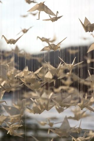 iPhone Wallpaper Paper cranes, origami