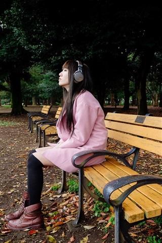 iPhone Wallpaper Park, bench, Asian girl listen music