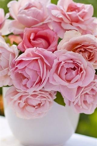 iPhone Wallpaper Pink roses, vase, bouquet