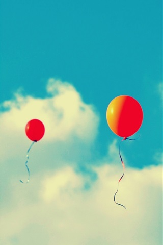 iPhone Wallpaper Red balloons flying in sky, clouds