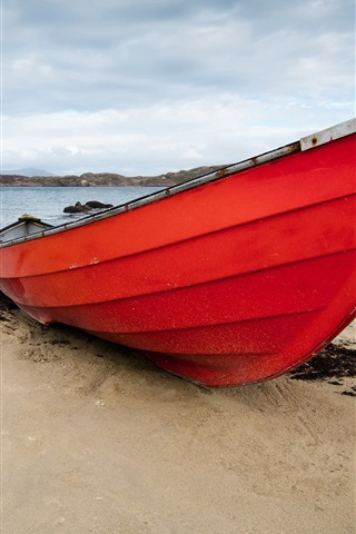 iPhone Wallpaper Red boat, beach