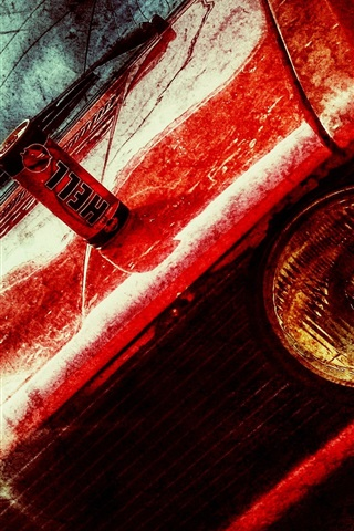 iPhone Wallpaper Red car front view, texture