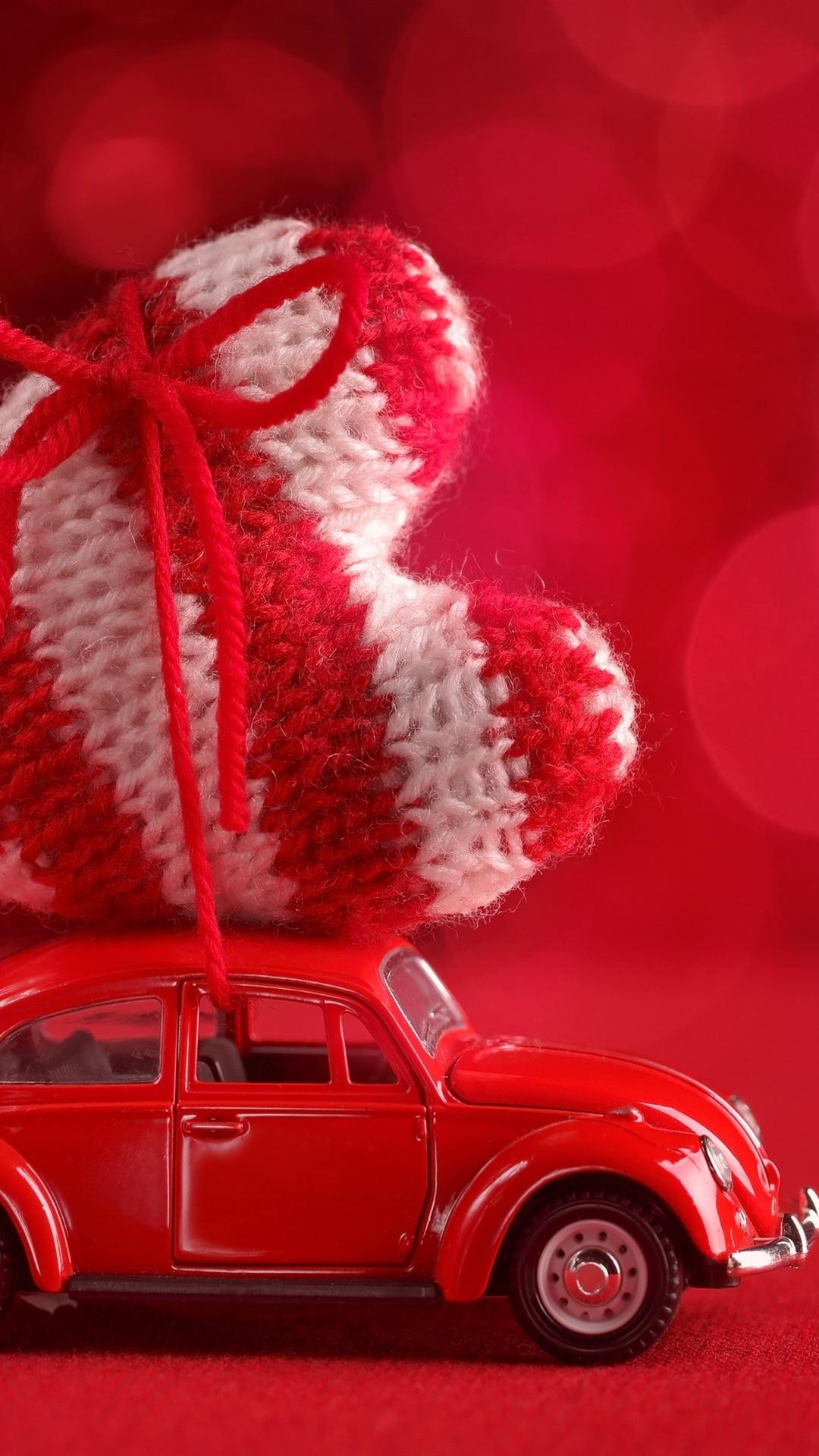 壁纸 红车,大爱心,散景 3840x2160 UHD 4K 高清壁纸, 图片, 照片