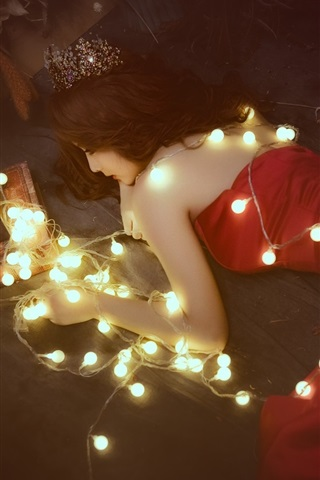 iPhone Wallpaper Red dress Asian girl lie on floor, lights