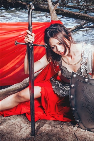 iPhone Wallpaper Red dress Asian girl, sword, shield