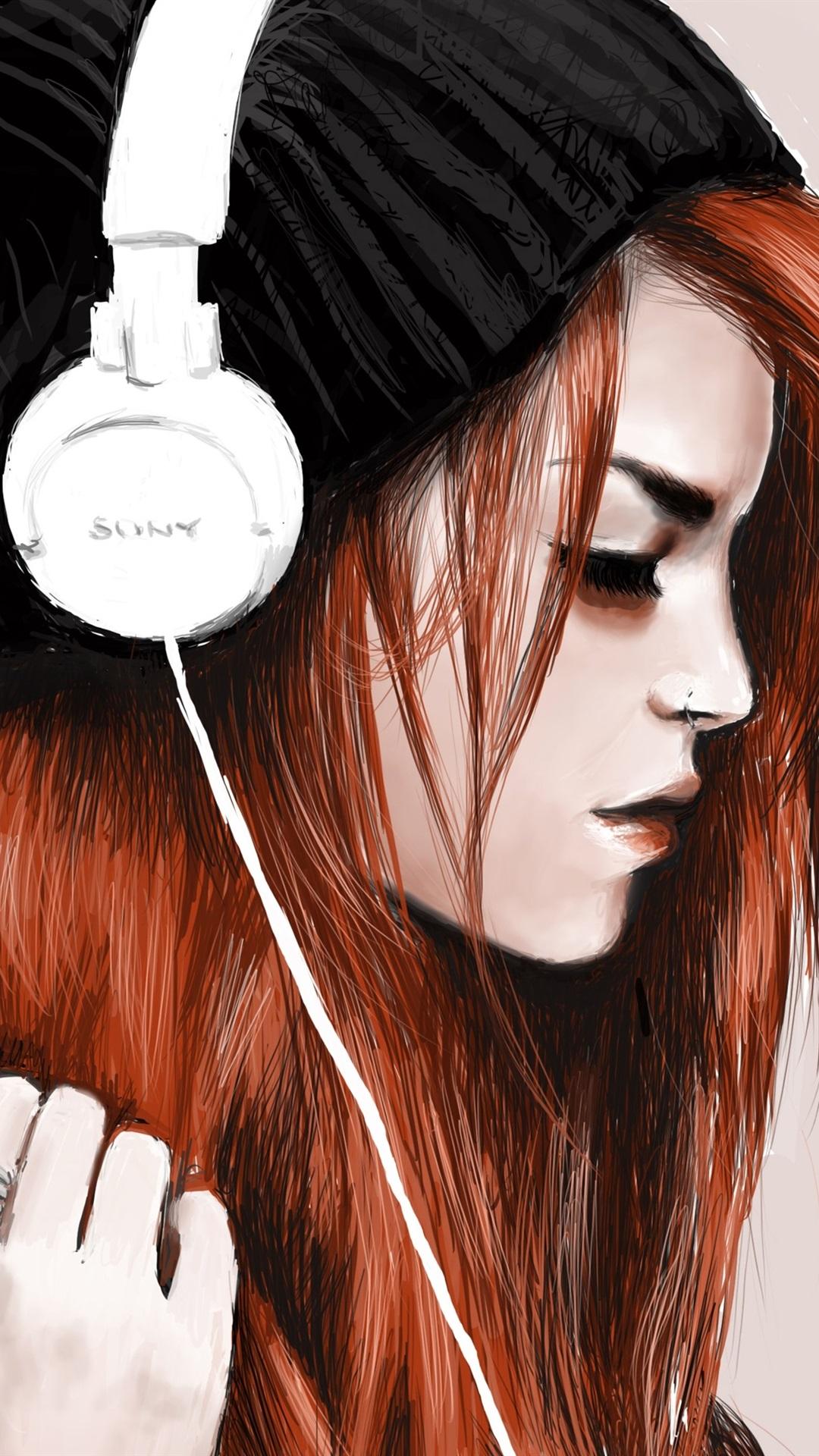 Картинки арт девушки в наушниках