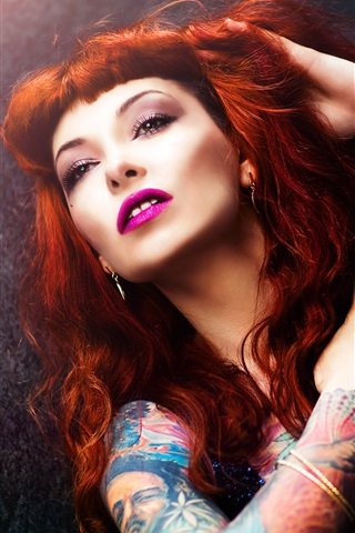 iPhone Wallpaper Red hair girl, makeup, tattoo