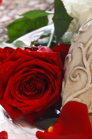 iPhone Wallpaper Red rose, love heart, romantic