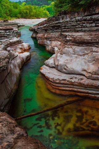 iPhone Wallpaper River, rocks, trees