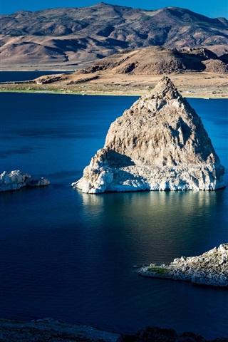 iPhone Wallpaper Rocks, lake, water, mountains, island