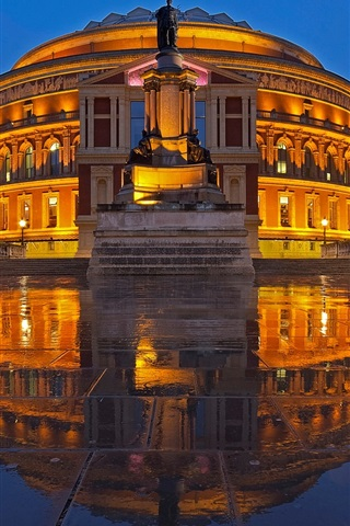 iPhone Wallpaper Royal Albert Hall, night, buildings, wet ground, lights, England, London