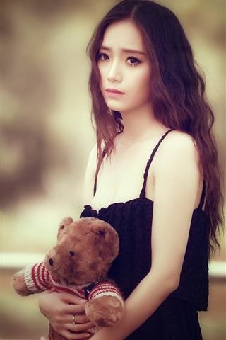 iPhone Wallpaper Sadness Asian girl, teddy bear