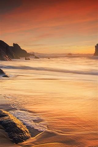 iPhone Wallpaper Sea, waves, coast, ocean, rocks, dusk