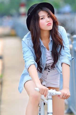iPhone Wallpaper Summer, Asian girl, bike