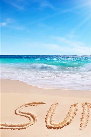iPhone Wallpaper Summer, beach, sea, clouds, sun
