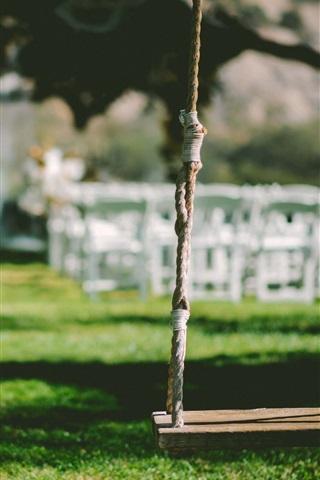 iPhone Wallpaper Swing, grass, garden