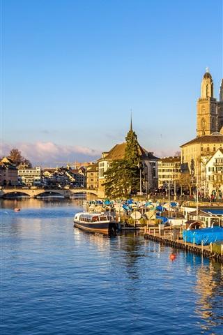 iPhone Wallpaper Switzerland, Zurich, piers, bridge, river, houses