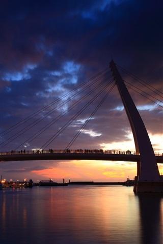iPhone Wallpaper Taipei, city, night, bridge, river, lights