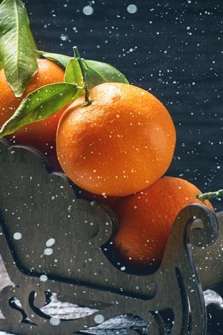 iPhone Wallpaper Tangerines, oranges, sleigh, fruit