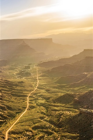 iPhone Wallpaper Valley, road, sunrise, morning, Canyonlands National Park, USA