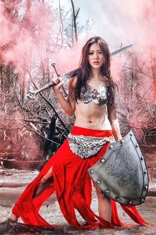 iPhone Wallpaper Warrior girl, Asian, red dress, sword, water, retro style