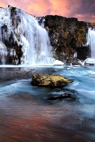 iPhone Wallpaper Waterfall, ice, frozen, winter