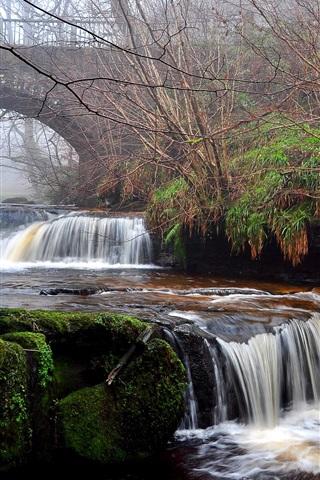 iPhone Wallpaper Waterfall, river, bridge, trees