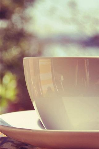iPhone Wallpaper White mug cup, saucer, sunlight