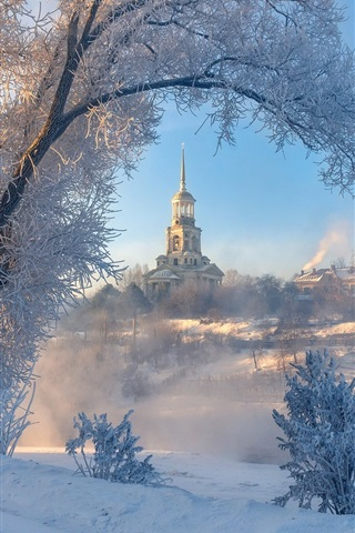 iPhone Wallpaper Winter, snow, trees, buildings, town, Torzhok, Russia
