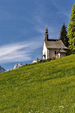 iPhone Wallpaper Alps, slope, mountains, church