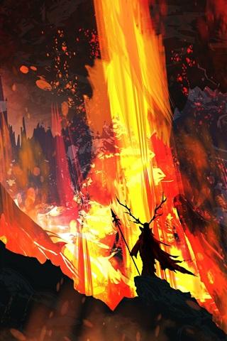 iPhone Wallpaper Art picture, fire, lava, horns