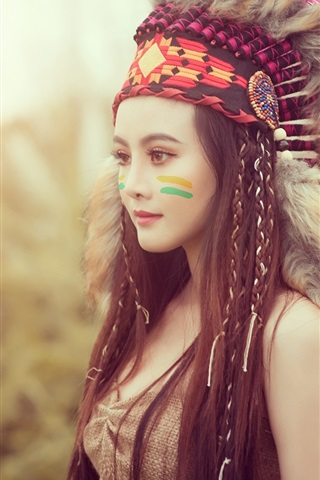 iPhone Wallpaper Beautiful Asian girl, Indian style, feathers