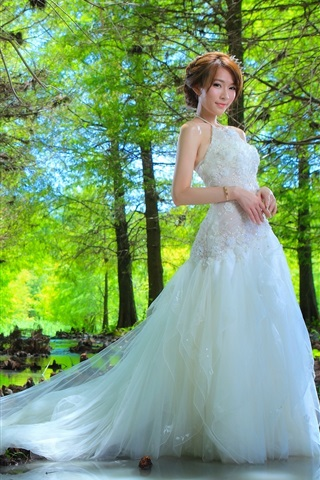 iPhone Wallpaper Beautiful bride, Asian girl, trees, water